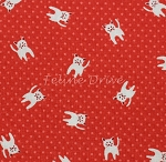 Fat Quarter - Naptime 2 - Kittens on Dots - Red