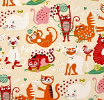 Fat Quarter - Nicole's Prints - Whiskers - Vanilla