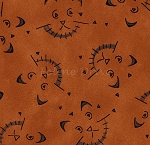 Fat Quarter - On the Web - Scaredy Cats - Dark Rust