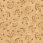Fat Quarter - On the Web - Scaredy Cats - Tan