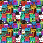 End of Bolt Piece - Cool Cats - Multi - 8