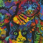 Paint Splatter Cats - KNIT