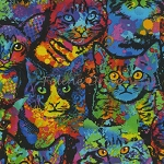 End of Bolt Piece - Paint Splatter Cats - KNIT - 31