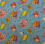 Fat Quarter - Pampered Pets - Cat Toss - Turquoise