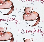 Fat Quarter - Paw Print - Luv My Kitty - White