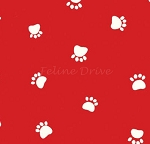 End of Bolt Piece - Paw Prints - Spaced Paws on Red - 17