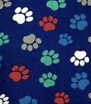 Flannel - Paw Prints on Navy