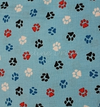 End of Bolt Piece - Paw Prints - Red, White, Blue, & Black - 28