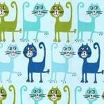 Fat Quarter - Flannel - Pets a Plenty - Dancing Cats - Aqua