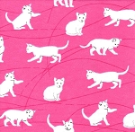 Flannel - Playful Cats on Pink