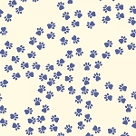 End of Bolt Piece - Paw Print Trails - Navy Paws on Cream - 10