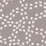 Fat Quarter - Paw Print Trails - Cream Paws on Taupe