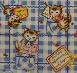 Fat Quarter - Pocket Kitten - Sweet Thoughts - Blue
