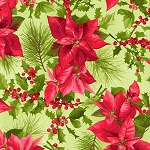 Fat Quarter - Poinsettia & Pine - Light Green