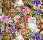 Precious Country - Floral Kittens - Digital Print
