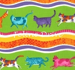 Fat Quarter - Prisma Cats - Wavy Stripe - Lime