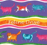 Fat Quarter - Prisma Cats - Wavy Stripe - Purple