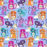 Fat Quarter - Flannel - Purrfect - Blue