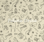 Fat Quarter - Purrsnickitty - Sketched Cats - Cream