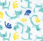Raining Cats & Dog - Cats & Birdies - Aqua