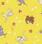 Fat Quarter - Retro 30's Child Smile - Yellow