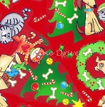 Fat Quarter - Seasons Greetings - Cat & Dog Christmas