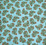 End of Bolt Piece - Sew Catty - Floral - Turquoise - 9
