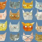 End of Bolt Piece - Smarty Cats - Cat Faces - Blue - 12