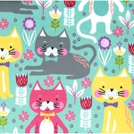 Fleece - Kitty Garden - Aqua - MINKY