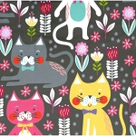 Fleece - Kitty Garden - Gray - MINKY