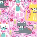 Fleece - Kitty Garden - Pink - MINKY