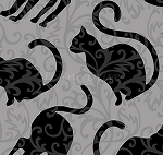 Fat Quarter - Spellbound - Cat Silhouettes - Black on Grey