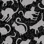 Spellbound - Cat Silhouettes - Grey on Black