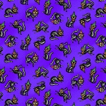 Fat Quarter - Spooky Town - Tossed Cats - Purple