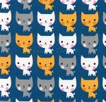 End of Bolt Piece - Suzy's Minis - Cats - Blue - 9