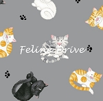 Fat Quarter - The Cat's Meow (Henry Glass) - Mini Cat Toss - Grey