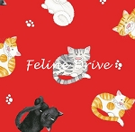 Fat Quarter - The Cat's Meow (Henry Glass) - Mini Cat Toss - Red
