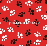 Fat Quarter - The Cat's Meow (Henry Glass) - Paw Prints - Red