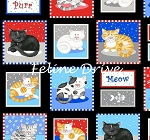 Fat Quarter - The Cat's Meow (Henry Glass) - Patchwork Squares - Black