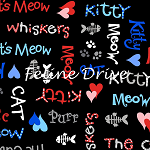 Fat Quarter - The Cat's Meow (Henry Glass) - Cat Words - Black