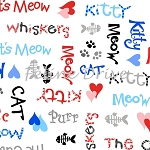 The Cat's Meow (Henry Glass) - Cat Words - White