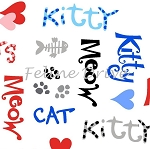Fat Quarter - The Cat's Meow (Henry Glass) - Cat Words - White