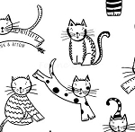 Fat Quarter - The Cat's Meow (Ink & Arrow) - Spaced Cats - White