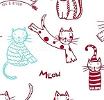 Fat Quarter - The Cat's Meow (Ink & Arrow) - Spaced Cats - Red