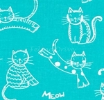 Fat Quarter - The Cat's Meow (Ink & Arrow) - Spaced Cats - Turquoise