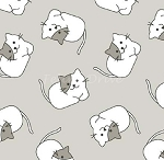 Fat Quarter - The Cat's Pyjamas - Cat Toss - Gray