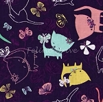 Fat Quarter - The Kitten's Meow - Play Date - Amethyst