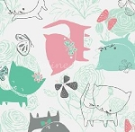 Fat Quarter - The Kitten's Meow - Play Date - White