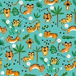 Tiger Tails - Tigers & Leaves - Teal
