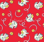 Fat Quarter - Toy Box Miniatures - Kittens - Red